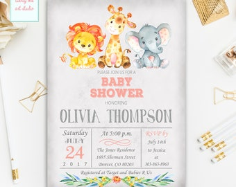 Jungle Safari Baby Shower Invitation, Girl Safari Baby Shower Invite, Printable Baby Shower Invitation