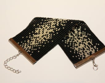 Elegant Handmade Bracelet, Toho Beads, Black and Gold, Little Black Dress Bracelet, Loom Bracelet
