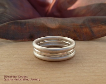 Sterling silver stacking bands, set of 3, satin and high gloss finish