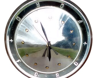 Ford Hubcap Clock, Ford Galaxieand Fairlane 1960's models  (dots for numbers)