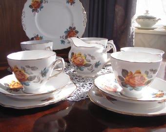 Vintage English Tea Set Roses 1960's teaset for 4