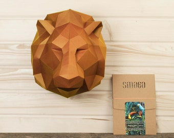 Lion DIY KIT, papercraft 3d, Lion king Craft kit, Paper trophy kids room decor, papercraft animal gift idea, low poly papercraft sculpture.