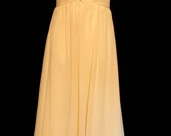 Pale Yellow Chiffon and Rhinestone Gown                VG325