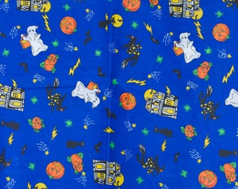 Halloween Fabric Blue Haunted House Witch Ghost Jack O Lantern