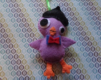 Felt Purple Beatnik Bird Ornament by Pepperland