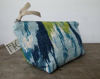 Blue Ikat Cosmetic Bag, Bridesmaid Gift, Holiday Gift, Blue Ikat Zipper Pouch, Pencil Case, Blue Ikat Toiletry Bag, Blue Ikat Travel Bag