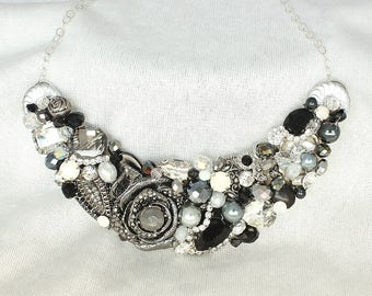 Black Bib Necklace- Black Statement Necklace- Black Bridal Necklace- Black Bridal Bib- Black Rhinestone Necklace- OOAK-Charcoal Bib Necklace
