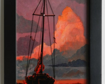 Sailboat paintings, Night Anchorage, Sailboats, Paintings of sailboats, Sailboat scenes, Sailboats, Sailing, Nautical, Sunsets, Pink clouds