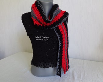 SCARF for women and teens - crocheted in Red/Black wool.