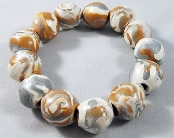 Handmade Clay Beaded Bracelet - White/Gold/Gray (B)