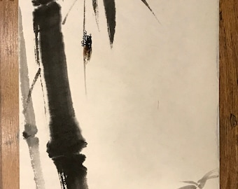 Chinese Ink Painting, Bamboo and Insect, Bamboo Watercolor, Japanese Brush Painting, Sumi-e, Zen, Autumn, Bamboo, Nature Artwork