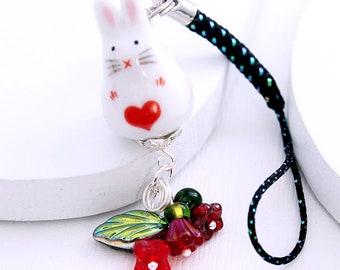 Kawaii Cute Phone Charm - Sweetheart Bunny, Red Czech Glass Flowers, White Rabbit Bead, Red Heart Design, Black Lanyard or Dust Plug Charm
