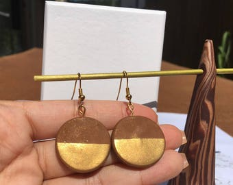 Brown and Gold Drop Earrings
