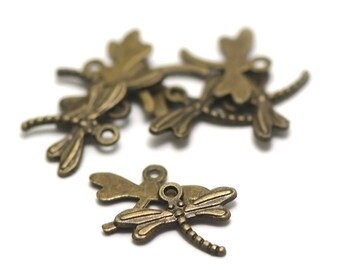 "10 charms ""Dragonfly"", 18 x 14 mm, bronze"
