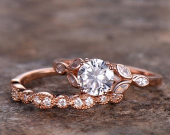1ct Engagement ring,rose gold or white gold plated,Half eternity wedding ring,925 sterling silver wedding band,cz marquise matching band