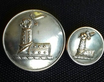 Antique English Livery Button Silver Plate. Elbowed Arm Holding Broken Sword 26mm & 16mm Example