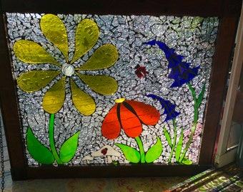 Flower Garden Stained Glass Mosaic On a Vintage Window
