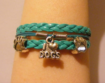 Dog bracelet, dog jewelry, I Love Dogs bracelet, I Love Dogs jewelry, Leather dog bracelet, leather dog jewelry, paw bracelet