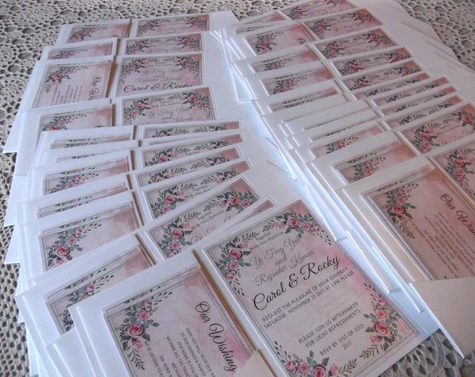 30 x Printed Wedding Invitation sets, Pocket Folds, RSVP, Wishing Well Cards, Matching Envelopes.  EVERYTHING! #WeddingInvitations