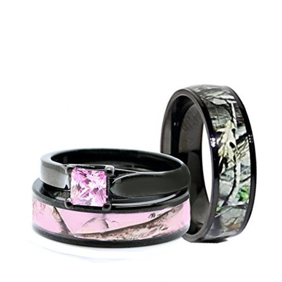his and hers camo wedding rings his and hers camo wedding rings set black plated titanium and 4808