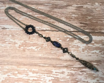 Long blue crystal necklace