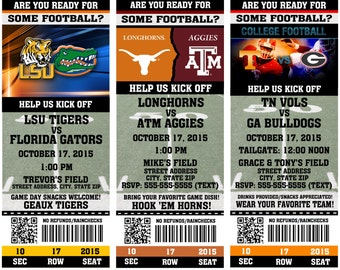 Printable College Football Party INVITATIONS Tailgate Party NCAA Pick your teams