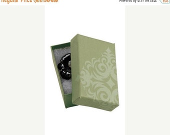 TAX SEASON Stock up 50 Pack of 2.5X1.5X7/8 Inch Size High Quality Sage Damask Cotton Filled Jewelry Presentation Boxes