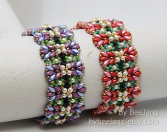 PDF Tutorial - Ayesha Bracelet Instant Digital Download Beading Patterns Beadweaving Tutorials