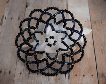 Black Beaded Kippah - Women Beaded Yarmulke - Temple Head Covering.