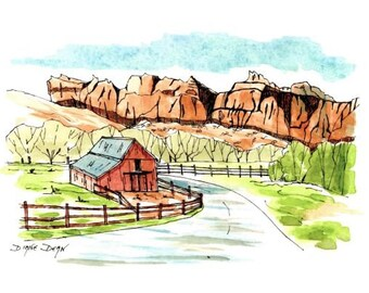 Ink and Watercolor Painting/landscape/print.  Buttes overlooking an old barn.