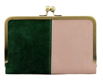 Hold All Leather Wallet in Tartan & Pink Suede