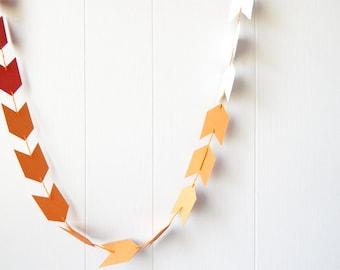Ombre Arrow Garland / Bunting in Burnt Orange and Pumpkin Orange 10 ft