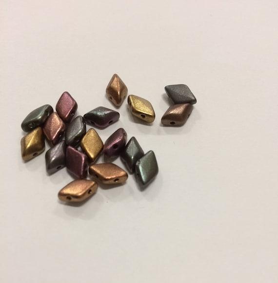 Dark Gold Rainbow 8 x 5mm GemDuo bead Approx 8g