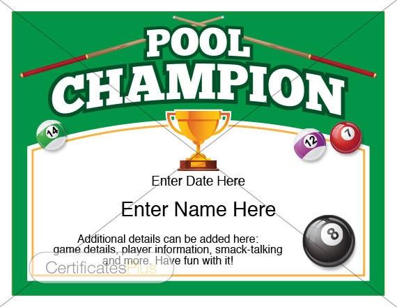 Pool Certificate Pool Champion Award pool award template