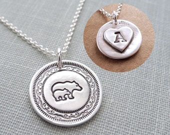 Personalized Mini Mother and Baby Bear Necklace, Mama Bear and Cub, New Mom Necklace, Fine Silver, Sterling Silver Chain, Made To Order