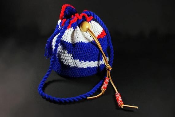 Drawstring Crochet Hobo Bag,  Boho Bag,  Patrotic Handbag, Team Bag.