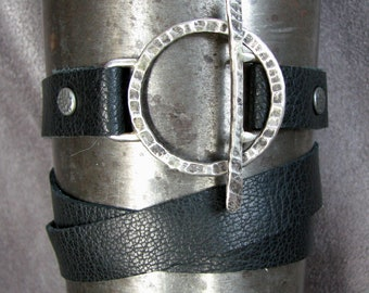 Leather Wrap Bracelet with Hand-Forged Sterling Silver Toggle Clasp (item 121)