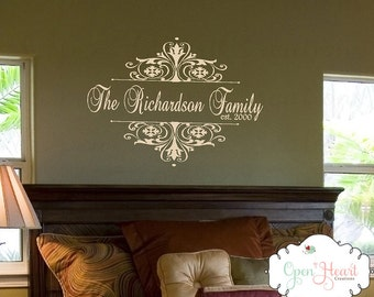 Monogram Wall Decal with Personalized Family Last Name and Established Year - Damask Accent Family Name Wall Decal 22h x 30w PD0043