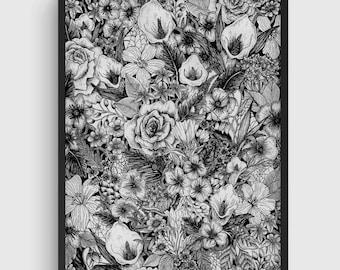 Flower Poster, Flower Illustration, Flower Print, Flower Wall Art, Floral Art, Botanical Illustration, Ink Drawing, Black and White Poster.