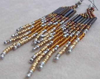 Carpal Tunnel Going Out of Business Sale! Long, Seed Bead, Metallic Earrings, Gold, Topaz, Copper, Colorful Earrings, Bold Earring