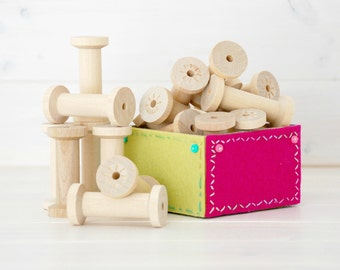 """Wood Spools - 6 Large  Wooden Spools - Unfinished -2-34th"""" x 1-1/4th""""  - Large Wood Spools - Wood Spools for Twine"""