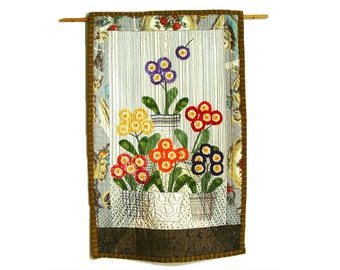 Auriculas theatre in fabric - bright colorful floral wall hanging