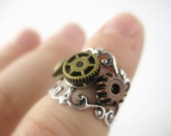 Above Knuckle Ring Silver or Bronze Mid Knuckle Ring Steampunk Ring Steampunk Jewelry Gears and Cogs Gift For Men Women