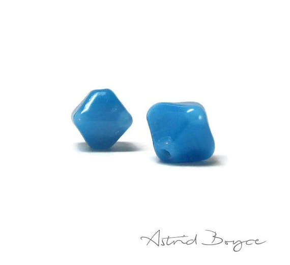Tiny Turquoise Jewels Artisan lampwork bead pair - Small 10mm handcrafted beads in a crystal shape  -  Turquoise Blue Lampwork Bead Crystals