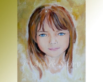 Child portrait painting | Custom child portrait | Baby portrait painting | Angel painting | Gift for her | Gift for him | Linda Knotter