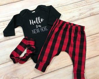 Baby Girl Coming Home Outfit / Buffalo Plaid / Knot Headband / Newborn