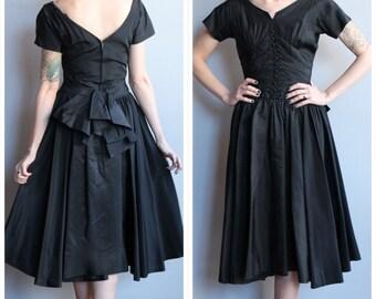 1950s Dress // Black Tie Affair Dress // vintage 50s silk taffeta dress