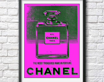 Chanel No. 5 poster print perfume bottle photograph Andy Warhol pop art photo cool poster