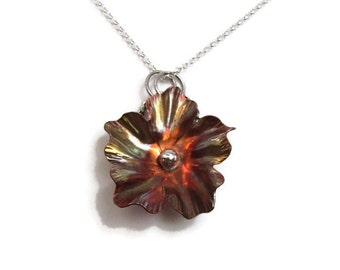 Copper Flower Necklace - Organic Flower Necklace - Mixed Metal Necklace - Copper Pendant - Forest Jewelry - Blossom Pendant - N-015 Avene