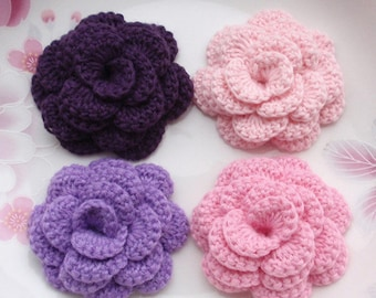 4 Crochet  Flowers Roses In 2 inches YH -142-14